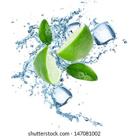 Fresh limes in water splash over white background
