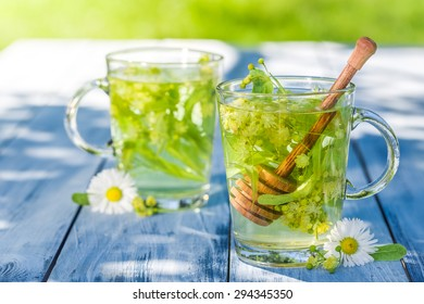 Fresh linden tea with honey with in summer