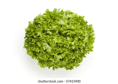 Fresh Lollo bionde lettuce seen from above  isolated on white background