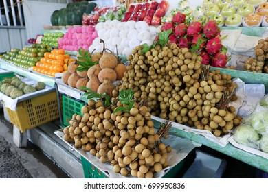Fresh Longan fruit for sell at local shop, Thai street food