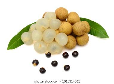 Fresh longan fruits isolated on white background