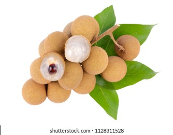 fresh longan fruits with leaf isolated on white background, top view.