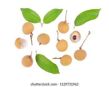 fresh longan fruits, longan leaves isolated on white background, flat lay, top view.