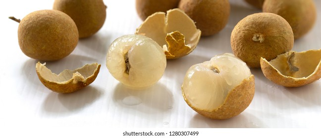 Fresh Longan on white background / Blurred and select focus and adjustment size for banner, cover, header