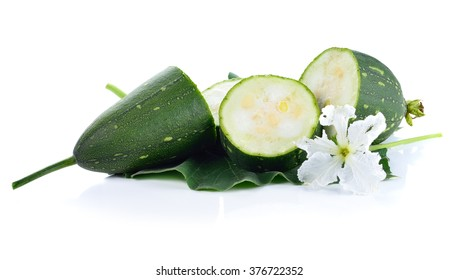 fresh loofah on the white background
