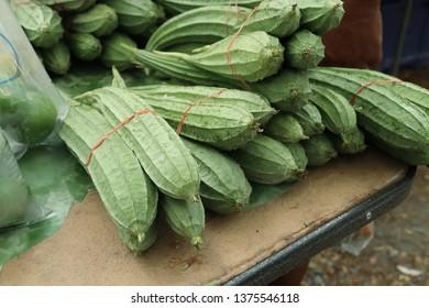 fresh luffa in market