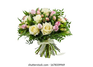 Fresh, lush bouquet of colorful flowers  for present isolated on white background. Wedding bouquet of roses and freesia flowers