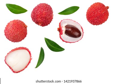 Fresh lychee with leaves isolated on white background. top view