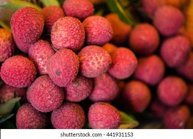Fresh Lychee in Thai market
