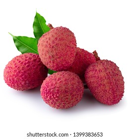 Fresh lychees isolated over a white background
