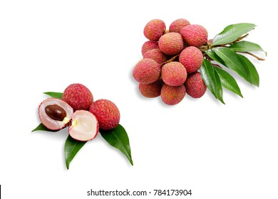Fresh lychees with leaves isolated on white background. This has clipping path.
