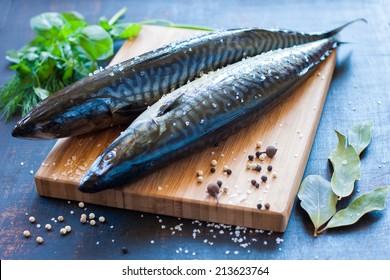 Fresh mackerel on the board