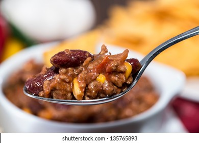 Fresh made Chili con Carne on a spoon