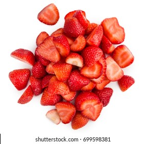 Fresh made Chopped Strawberries isolated on white background; close-up shot