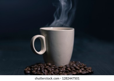 A fresh made coffee of coffeebeans