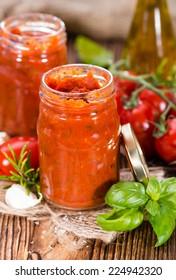 Fresh made Tomato Sauce (homemade) with basil, garlic and salt