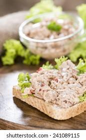 Fresh made Tuna salad sandwich on rustic wooden background