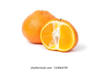 fresh mandarin and a half isolated on white