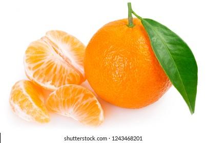 fresh mandarin with leaf isolated on white background