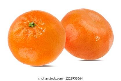 Fresh mandarin orange isolated on white background with clipping path