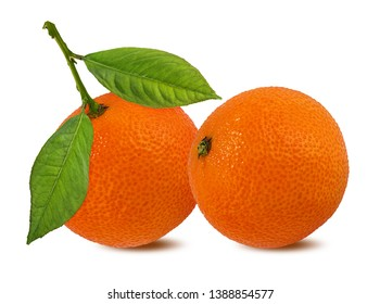 Fresh mandarin orange isolated on white background with clipping path