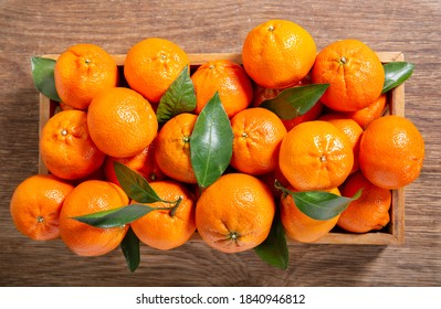 Fresh mandarin oranges fruit or tangerines with leaves in a wooden box, top view