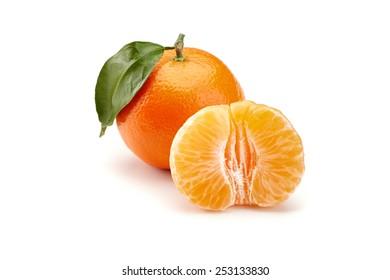 fresh mandarines isolated on white background