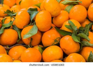 Fresh Mandarins with leaves/ Vitamin C