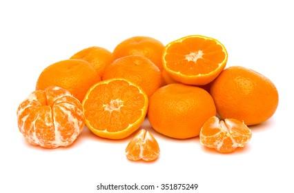 Fresh mandarins on white background