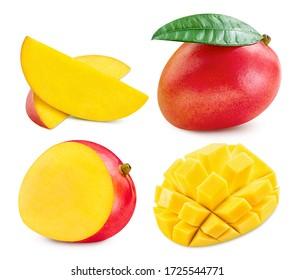 Fresh mango fruit. Mango isolated on white background. Collection mango with clipping path.