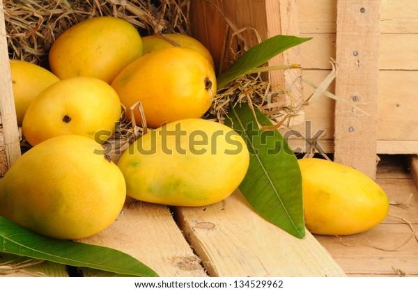 fresh mango fruit in a wooden box