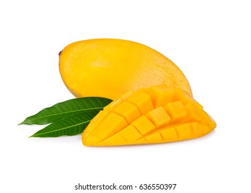 Fresh mango and a half of mango, fruit isolated on white background.