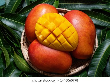 Fresh Mango - Juicy diced fruit in bamboo sieve on green color leaves background. Tropical summer concept. Top view, close up, macro, copy space.