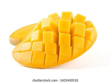 Fresh mango pulp isolated on white background.