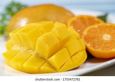 Fresh mango served on a dish