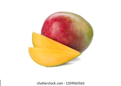 Fresh mango with two pieces isolated on white background, closeup