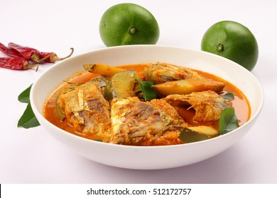 Fresh mangoes served with coconut fish curry,