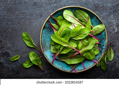 Fresh mangold leaves, swiss chard or leaf beet