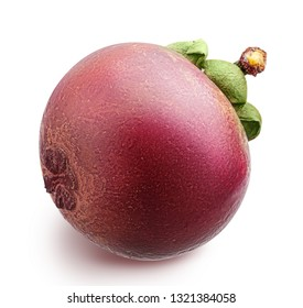 Fresh mangosteen isolated on white background. Clipping path