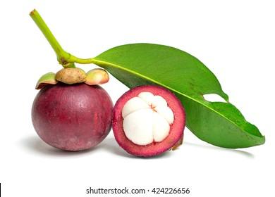 Fresh mangosteen isolated on white background