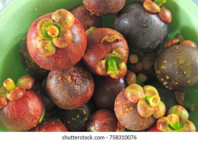 fresh Mangosteen, tropical fruit is placed on the table