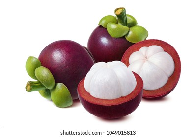 Fresh mangosteen. Whole and halves isolated on white background as package design element