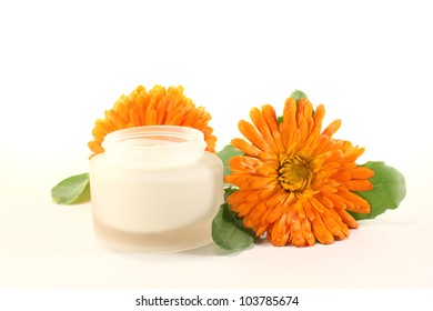 fresh marigold salve with Calendula flowers and leaves