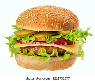 Fresh meat burger isolated on white background