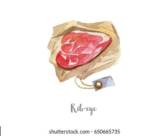 fresh meat illustration. Hand drawn watercolor on white background