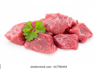 fresh meat on slice on the white background.