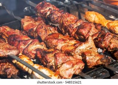 Fresh meat on a steel skewer