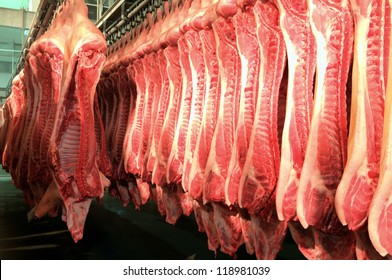 Fresh meat pigs in a cold cut factory