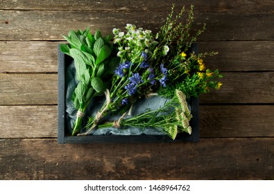 Fresh medicinal herbs. Medicinal herbs (chamomile, wormwood, yarrow, mint, St. John's wort and chicory) on an old wooden board. View from above. Copy space