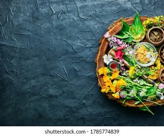 Fresh medicinal,healing herbs.Alternative medicine herbal.Herbal medicine and homeopathy